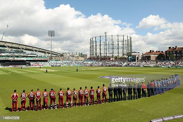 The teams participate in a minutes silence in honor of Tom Maynard prior to the start of the 2nd Natwest One Day International Series between England...