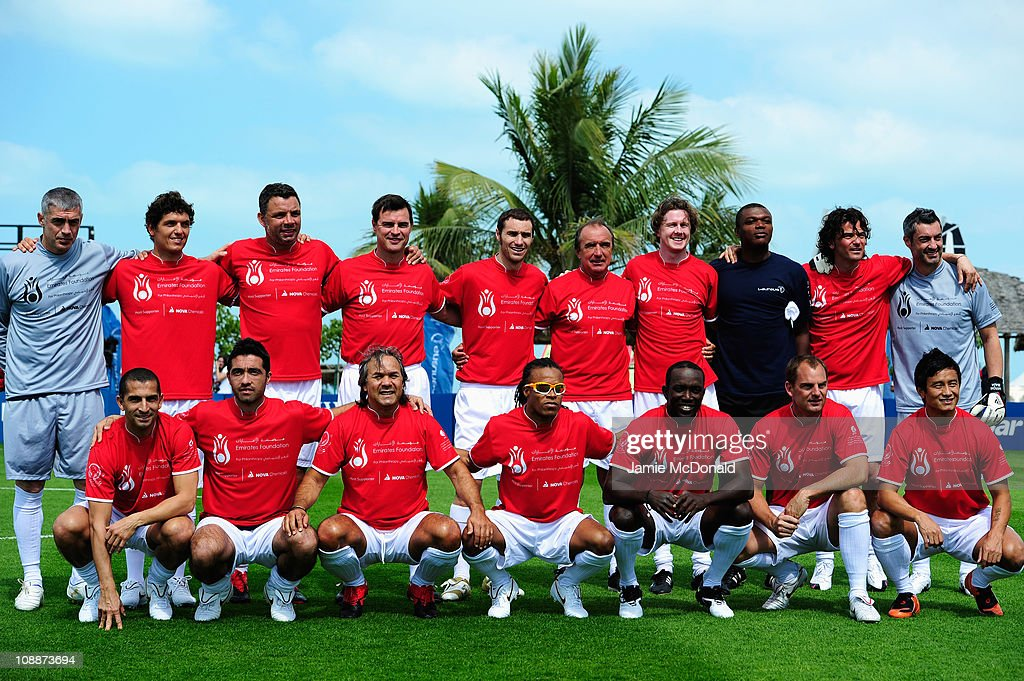 The teams pose before the Laureus Football Challenge presented by IWC Schaffhausen as part of the 2011 Laureus World Sports Awards at the Emirates Palace on February 7, 2011 in Abu Dhabi, United Arab Emirates.