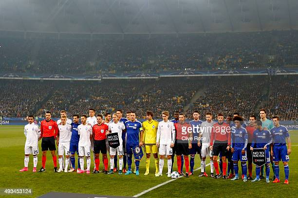 The teams pose together prior to kick off the UEFA Champions League Group G match between FC Dynamo Kyiv and Chelsea at the Olympic Stadium on...