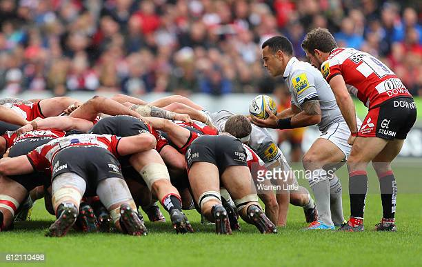 The teams scrum during the Aviva Premiership match between Gloucester Rugby and Bath Rugby at Kingsholm Stadium on October 1 2016 in Gloucester...