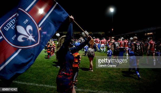 The teams walk out ahead of the Betfred Super League match between Wakefield Trinity and Leigh Centurions at Belle Vue on March 23 2017 in Wakefield...
