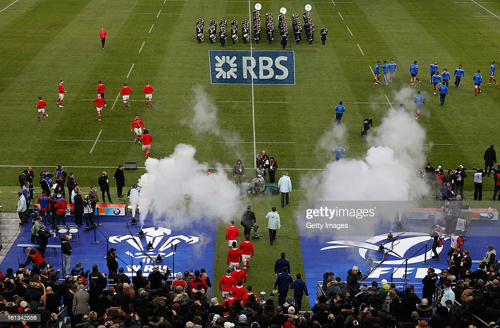 The teams walk out during the RBS Six Nations match between France and Wales at Stade de France on February 9, 2013 in Paris, France.