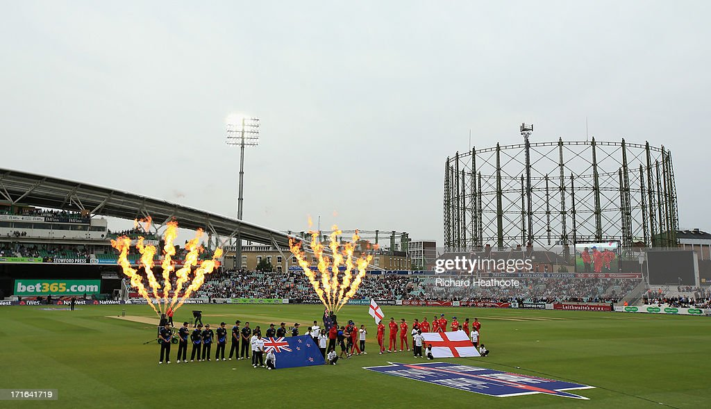 The teams walk out for the start of the 2nd Natwest International T20 match between England and New Zealand at The Kia Oval on June 27, 2013 in London, England.