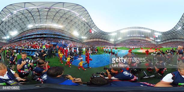The teams walk out for the UEFA EURO 2016 quarter final match between Poland and Portugal at Stade Velodrome on June 30 2016 in Marseille France