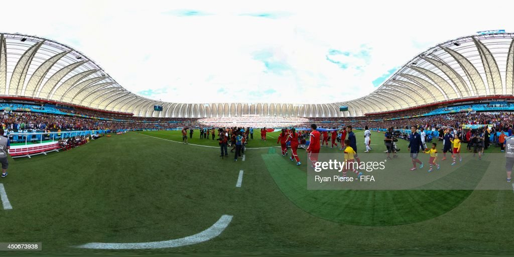 The teams walk out to the pitch before the 2014 FIFA World Cup Brazil Group E match between France v Honduras at Estadio Beira-Rio on June 15, 2014 in Porto Alegre, Brazil.