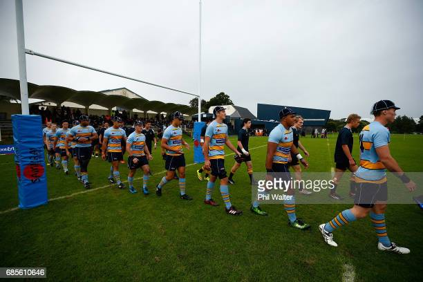 The teams walks out onto the field before the schoolboy First XV rugby match between Mt Albert Grammar and Auckland Grammar at Mt Albert Grammar...