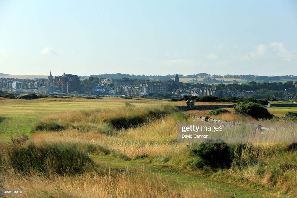 The tee shot on the par 5 14th hole on the Old Course at St Andrews venue for The Open Championship in 2015 on July 29 2014 in St Andrews Scotland