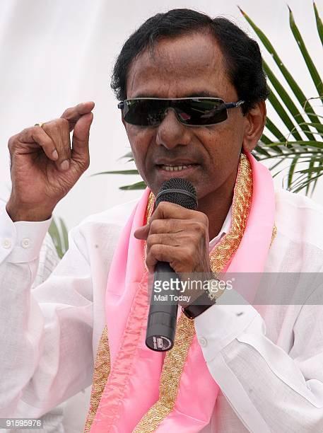 The Telangana Rashtra Samithi chief K Chandrashekhar Rao in Delhi on Wednesday October 7 2009