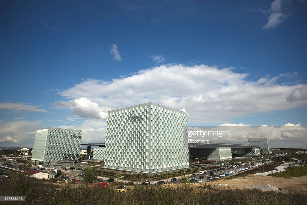 The Telefonica SA headquarters are seen in Madrid, Spain, on Tuesday, April 30, 2013. Telefonica SA, Spain's largest phone company, is considering sale options in Europe that range from fixed-line operations in Germany to its assets in Ireland, according to people familiar with the plans. Photographer: Angel Navarrete/Bloomberg via Getty Images