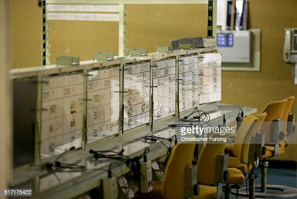 The telephone and communications operators work station inside the York Cold War Bunker on February 12 2016 in York United Kingdom York Cold War...