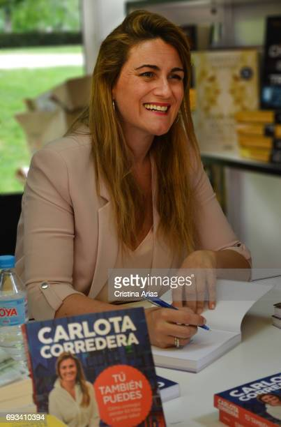 The television presenter and writer Carlota Corredera signs a book during the Book Fair 2017 at El Retiro Park on May 28 2017 in Madrid Spain