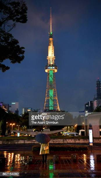 The Television Tower is illuminated in green marking the 20th anniversary of the organ transplant law took effect on October 16 2017 in Nagoya Aichi...