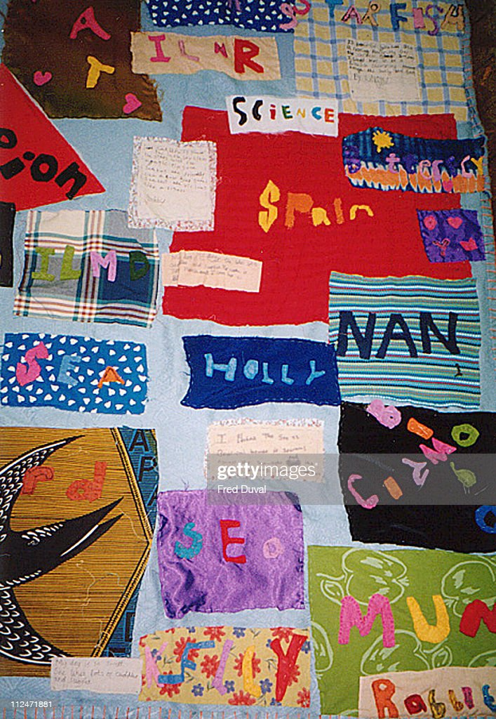 The 'Tell Me Something Beautiful' patchwork quilt made by Tracey Emin in collaboration with pupils at Ecclesbourne Primary School in Islington The...