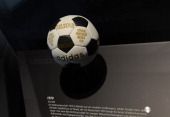 The Telstar football of the World Championship 1970 in Mexico is seen at the new 'Bayern Munich Adventure World' in the arena in Munich southern...