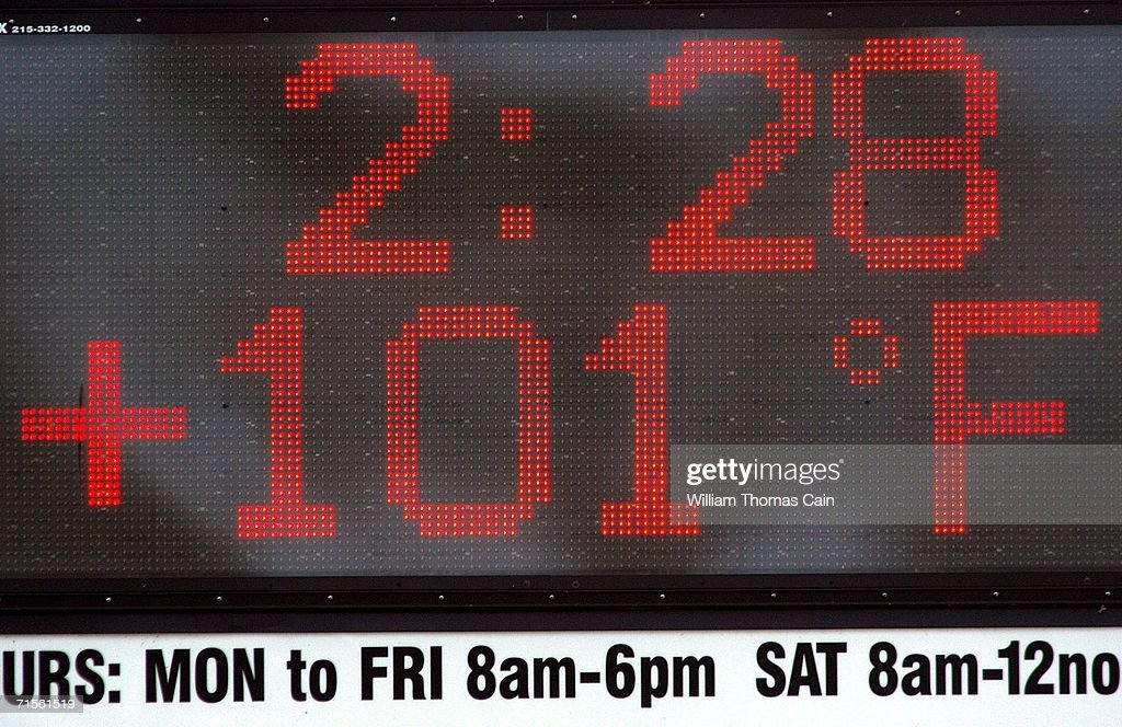The temperature is displayed at 101 degrees on a sign at an auto shop in during a heat wave gripping the northeast August 1, 2006 in Bensalem, Pennsylvania. Record breaking temperatures of 100 plus degrees are expected in the Philadelphia region over the next few days.