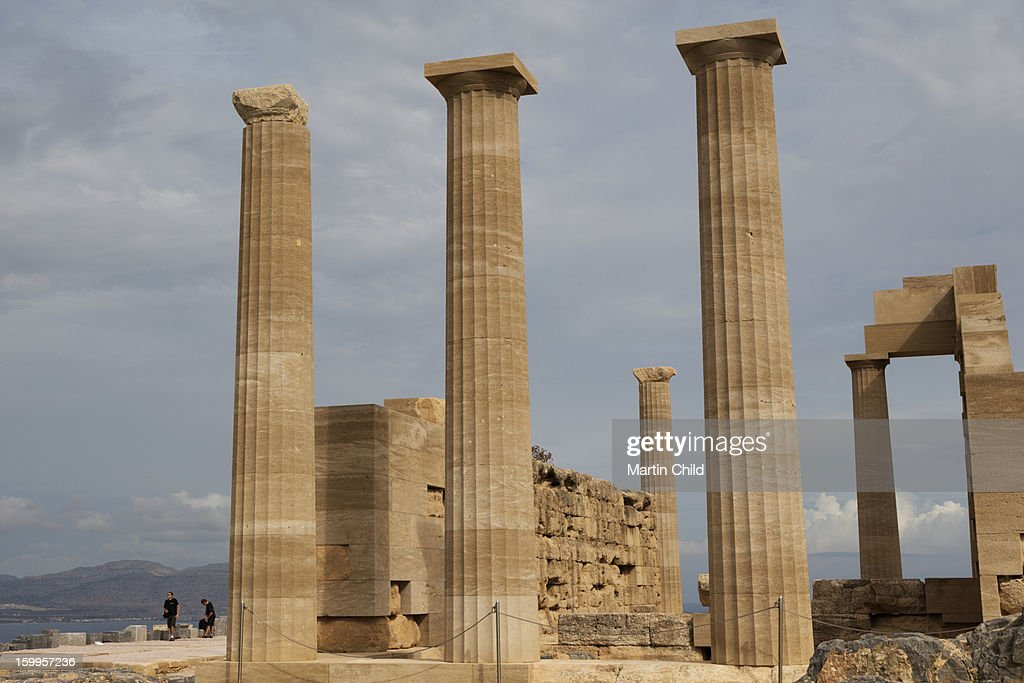 the temple in the Acropolis at Lindos : Stock Photo