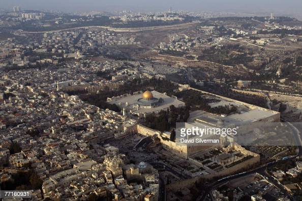 The Temple Mount known to Muslims as elHarem alSharif with it's golden Dome of the Rock Islamic shrine and leaddomed alAqsa mosque dominates October...