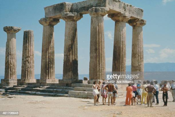 The Temple of Apollo in Ancient Corinth Greece circa 1970 It was built in the 6th century BC