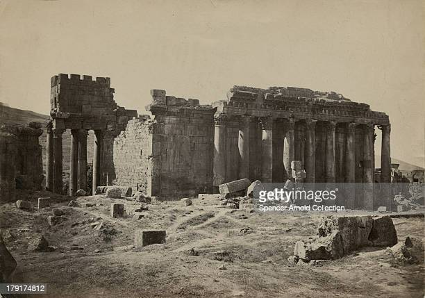 The Temple of Bacchus in the ancient city of Baalbek in Lebanon circa 1880