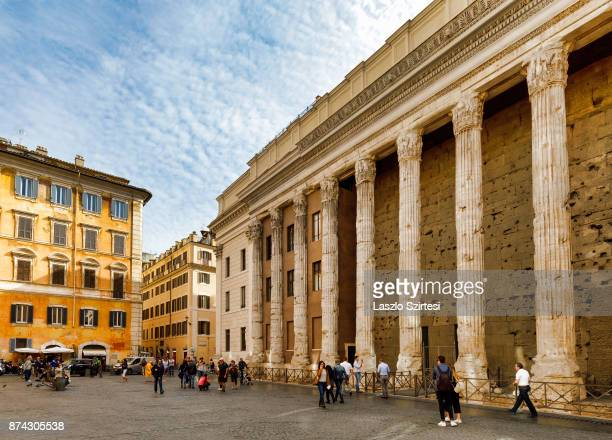 The Temple of Hadrian is seen at Piazza di Pietra square on October 31 2017 in Rome Italy Rome is one of the most popular tourist destinations in the...