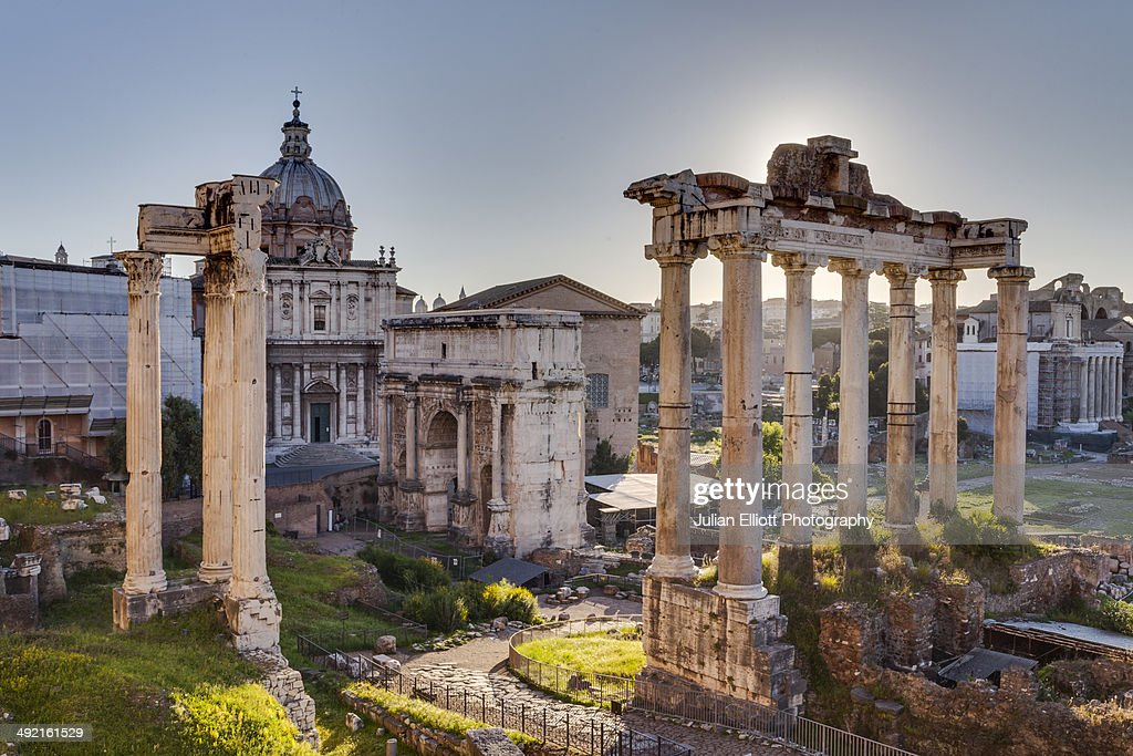 The Temple of Saturn and the Arch of Tiberius.