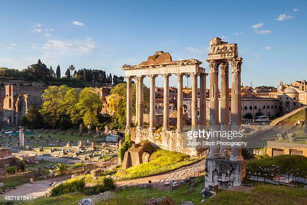 The Temple of Saturn in the Roman Forum, Rome.