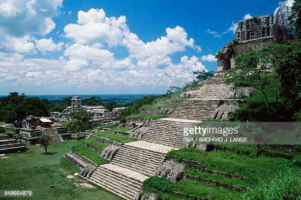 The Temple of the Cross with the Palace in the background Palenque Chiapas Mexico Mayan civilisation 7th8th century