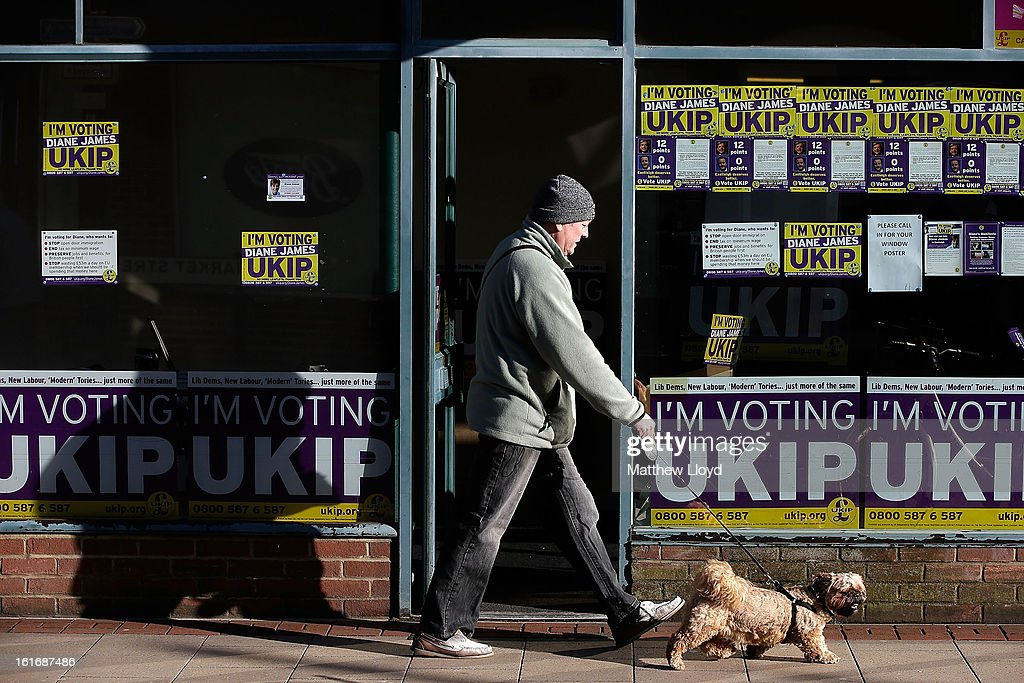 The tempoary office of UKIP parliamentary candidate Diane James set up in the town centre on February 14, 2013 in Eastleigh, Hampshire. A by-election has been called in the constituency of Eastleigh after it's former MP, Chris Huhne, resigned after pleading guilty to perverting the course of justice over claims his ex-wife took speeding points for him in 2003.