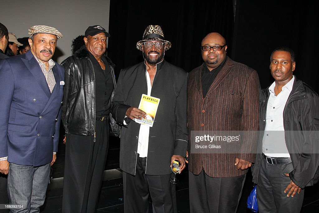 The Temptations pose backstage at the Tony Nominated hit musical 'Motown:The Musical' on Broadway at The Lunt-Fontanne Theater on May 8, 2013 in New York City.