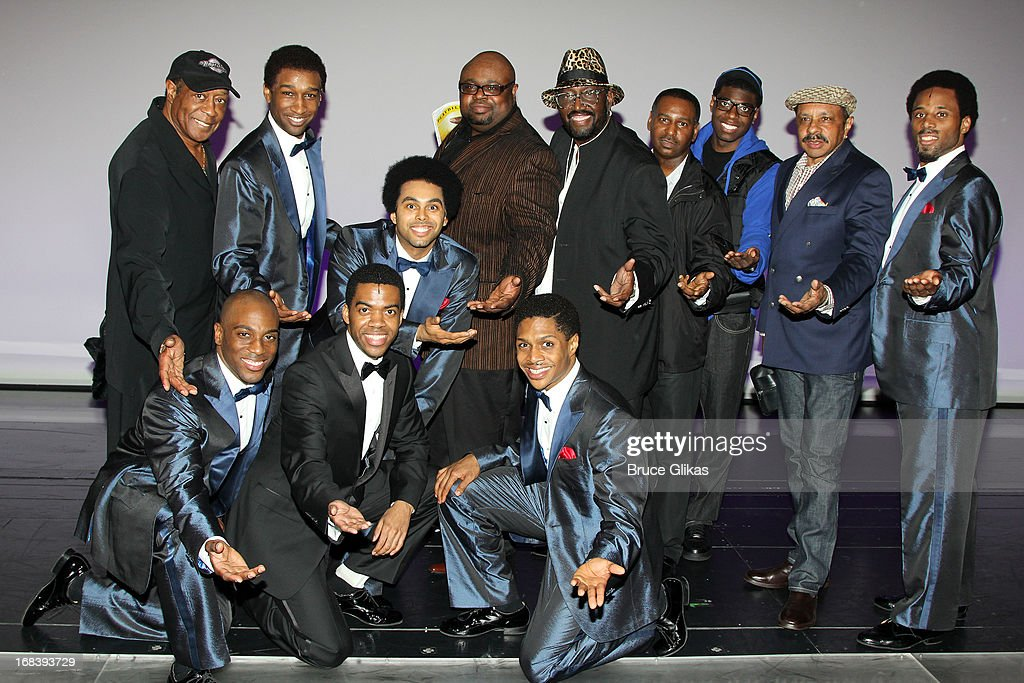 The Temptations pose with the stage show Temptations backstage at the Tony Nominated hit musical 'Motown:The Musical' on Broadway at The Lunt-Fontanne Theater on May 8, 2013 in New York City.