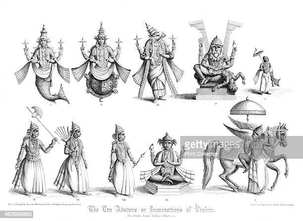 'The Ten Abatars or Incarnations of Vishnu' A print from The Faiths of the World a Dictionary of All Religions and Religious Sects Their Doctrines...