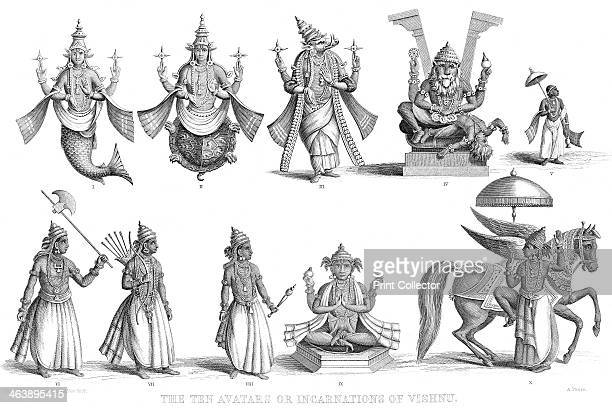 'The Ten Avatars or Incarnations of Vishnu' c1880 Vishnu one of gods of the Hindu Trinity in his ten incarnations or avatars