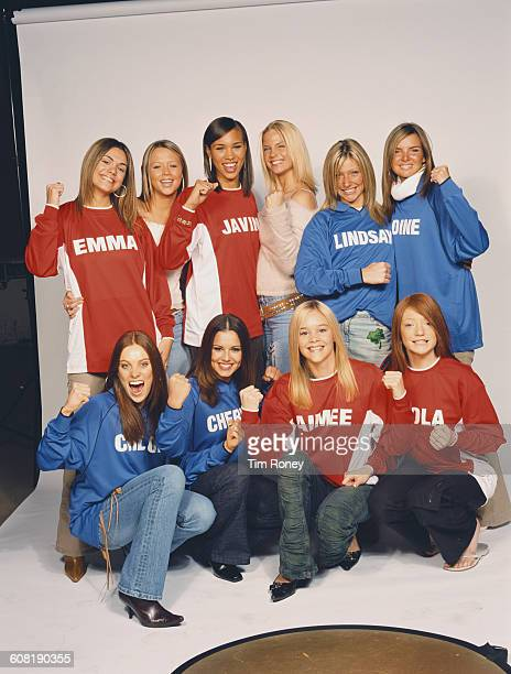 The ten finalists from the British television talent show 'Popstars The Rivals' UK October 2002 From left to right they are Emma Beard Kimberley...