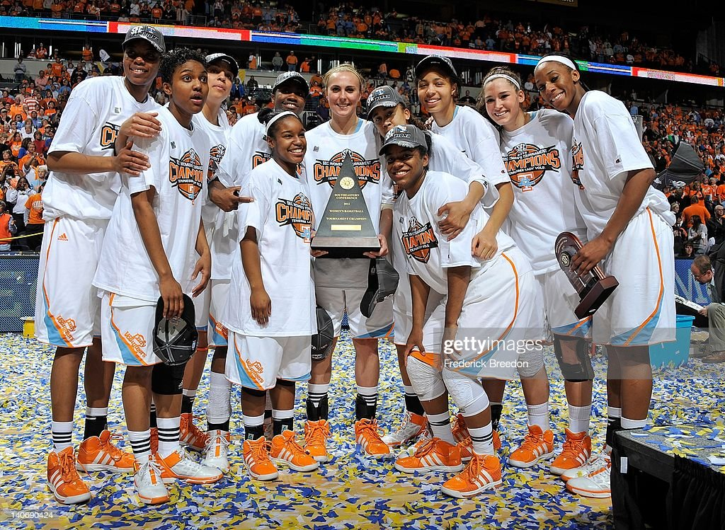 The Tennessee Lady Volunteers pose with their Championship trophy after defeating the LSU Tigers in the SEC Women's Basketball Tournament Championship game at the Bridgestone Arena on March 4, 2012 in Nashville, Tennessee.