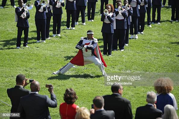 The Tennessee State University Aristocrat of Bands marching band performs on the South Lawn of the White House during a reception in honor of the...