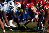 The Tennessee Titans line up against the Kansas City Chiefs on the line of scrimmage during the game on December 16 2007 at Arrowhead Stadium in...