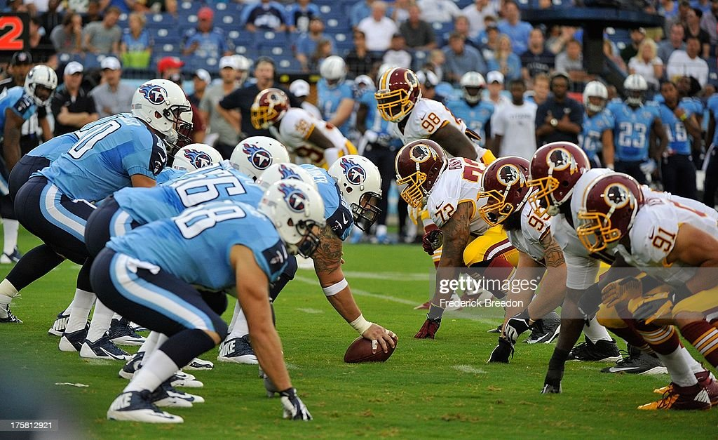 The Tennessee Titans line up against the Washington Redskins during a pre-season game at LP Field on August 8, 2013 in Nashville, Tennessee.
