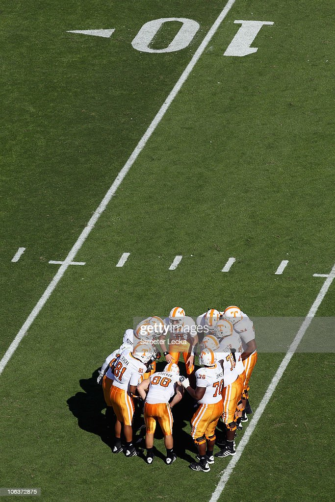 The Tennessee Volunteers huddle against the South Carolina Gamecocks during their game at Williams-Brice Stadium on October 30, 2010 in Columbia, South Carolina.