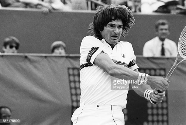 The tennis champion Henri Leconte during tournament Roland Garros Paris France 1983