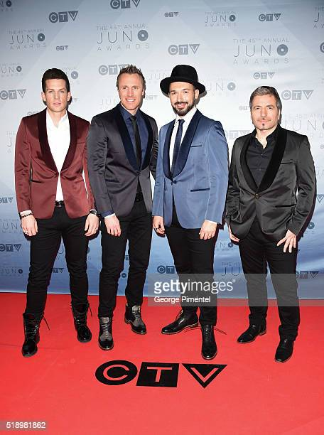The Tenors arrive at the 2016 Juno Awards at Scotiabank Saddledome on April 3 2016 in Calgary Canada