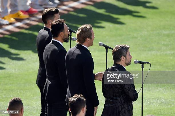 The Tenors musicians based in British Columbia perform 'O Canada' prior to the 87th Annual MLB AllStar Game at PETCO Park on July 12 2016 in San...