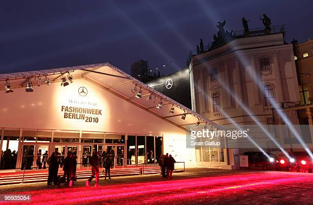 The tent of the MercedesBenz Fashion Week Berlin Autumn/Winter 2010 is seen at the Bebelplatz on January 21 2010 in Berlin Germany
