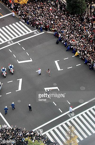 The Tenth and final runner of Waseda University Kenji Nakashima competes in the day two of the 87th Hakone Ekiden on January 3 2011 in Tokyo Japan