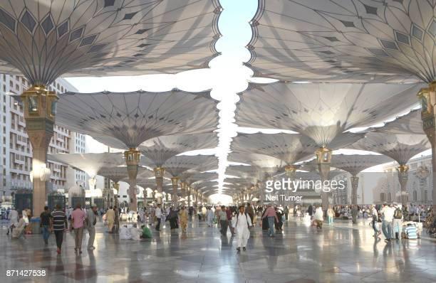 The tents of the Prophet's Mosque, Medina, Saudi Arabia.