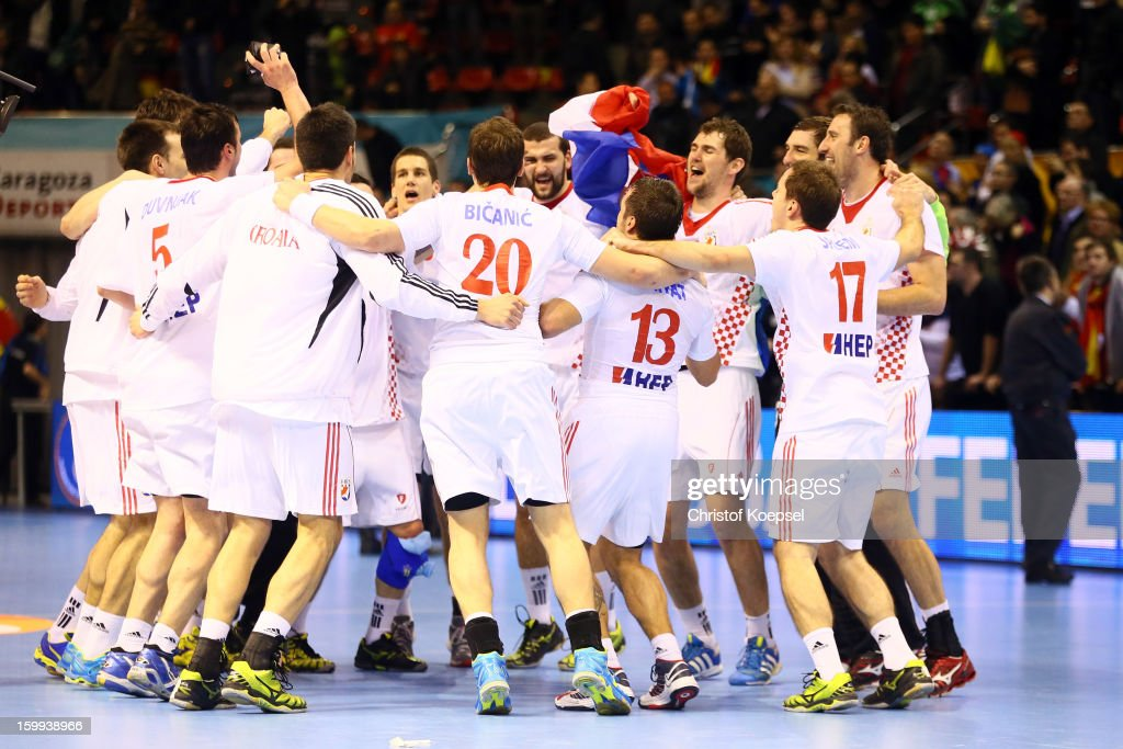 The teof Croatia celebrastes the 30-22 victory after the quarterfinal match between France and Croatia at Pabellon Principe Felipe Arena on January 23, 2013 in Barcelona, Spain.