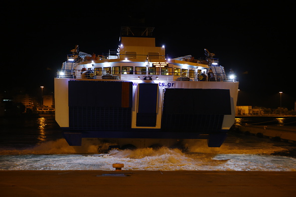 The Tera Jet ferry arrives with the refugees from the island...