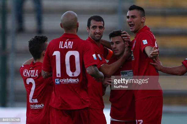 The Teramo Calcio 1913 players celebrate the 10 goal of Lorenzo De Grazia of Teramo Calcio 1913 during the Lega Pro 17/18 group B match between...