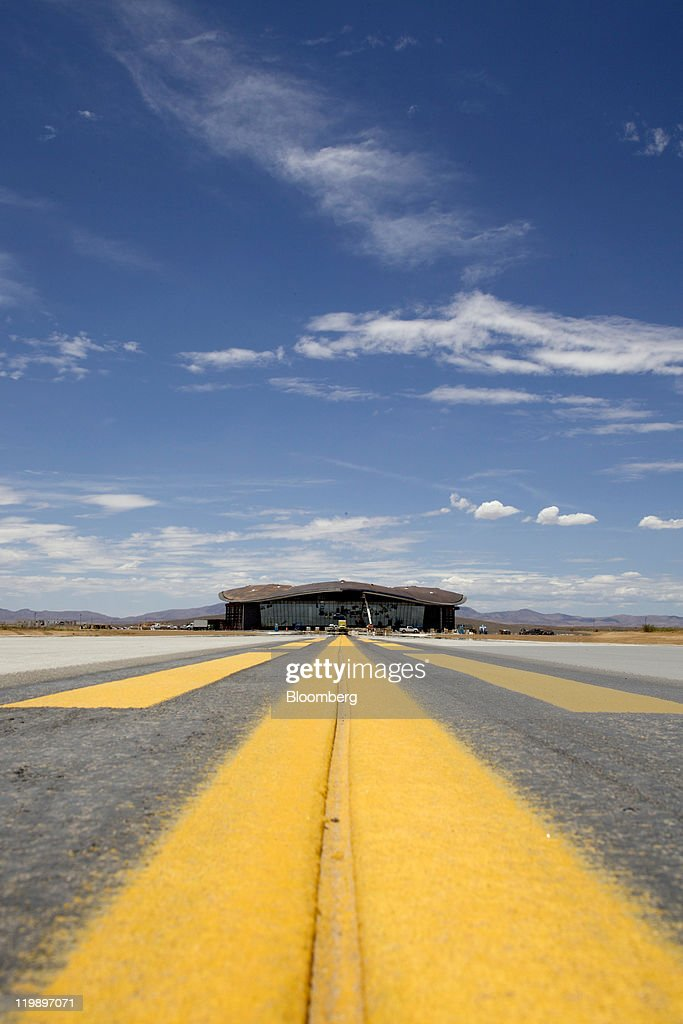 The Terminal Hangar Facility at Spaceport America stands in Sierra County, New Mexico, U.S., on Thursday, July 14, 2011. The future home of Virgin Galactic is behind schedule and its director says it won't generate as many jobs as backers once claimed. Photographer: Christ Chavez/Bloomberg via Getty Images
