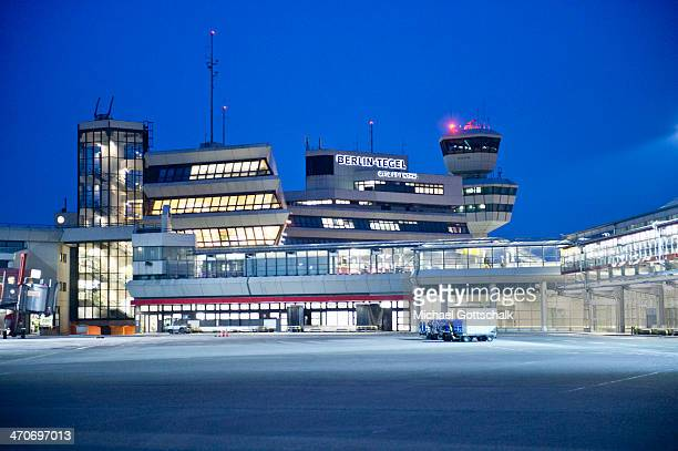 The terminal of BerlinTegel airport during sunset on February 19 2014 in Berlin Germany
