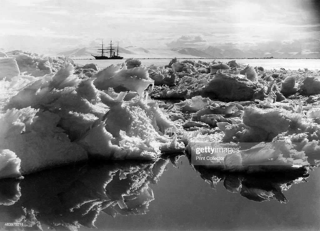 The 'Terra Nova' in McMurdo Sound, Antartica, 1911. Captain Robert Falcon Scott's (1868-1912) ship the Terra Nova seen in the distance on the ill-fated expedition to the South Pole.